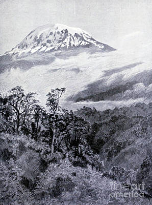 Drawings Royalty Free Images - Snowy dome of Kilimanjaro i3 Royalty-Free Image by Historic illustrations