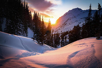 Photograph - Snowy Sunset in Little Cottonwood Canyton by James Udall