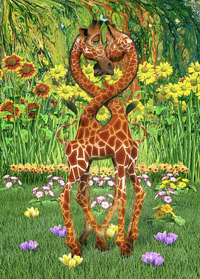 Royalty-Free and Rights-Managed Images - So In Love Giraffes by Betsy Knapp