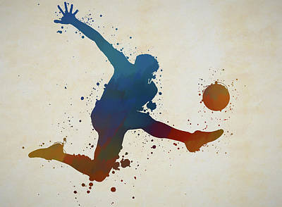 Sports Paintings - Soccer Kick 2 by Dan Sproul