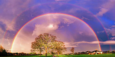 Royalty-Free and Rights-Managed Images - Somewhere Over The Double Rainbow - Arkansas Landscape Panorama by Gregory Ballos