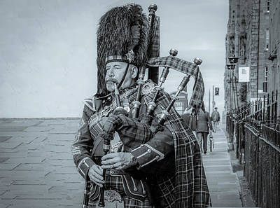 Latidude Image - Son of Edinburgh, Black and White by Marcy Wielfaert