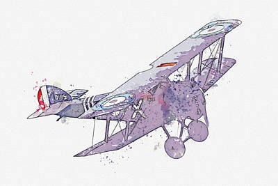 Rowing - Sopwith Camel Replica G-BZSC D Vintage Aircraft - Classic War Birds - Planes watercolor by Ahmet Asa by Celestial Images
