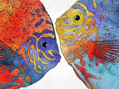Animals Digital Art - Soulmate fishes by Mihaela Pater