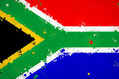 Royalty-Free and Rights-Managed Images - South Africa Flag Splatter Paint by Dan Sproul