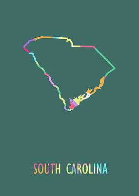 Royalty-Free and Rights-Managed Images - South Carolina Pop Art Map Green BG by Ahmad Nusyirwan