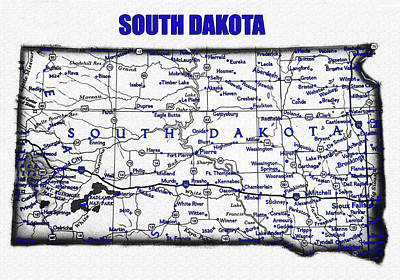 Science Collection - South Dakota blue print work by David Lee Thompson