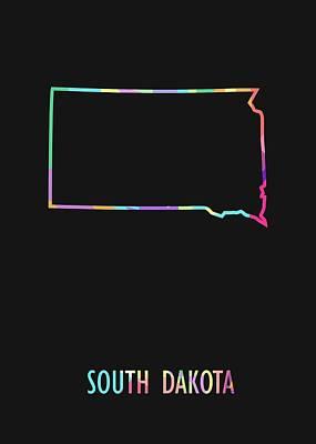 Olympic Sports - South Dakota Pop Art Map Black BG by Ahmad Nusyirwan