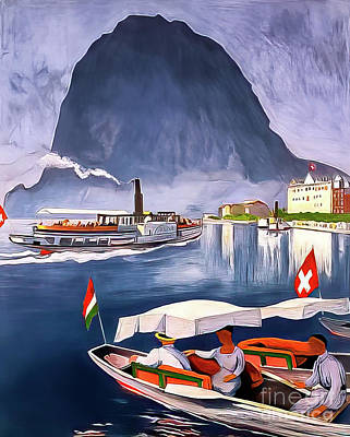 Drawings Royalty Free Images - South Switzerland Vintage Travel Poster 1924 Royalty-Free Image by Switzerland