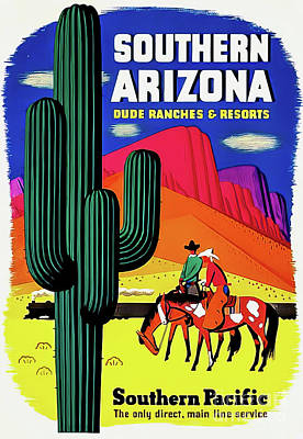 Animals Drawings - Southern Arizona Travel Poster 1950 by Southern Pacific Railway
