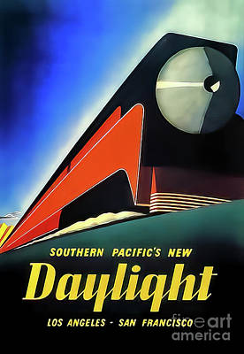 Drawings Royalty Free Images - Southern Pacific Daylight Express Train Poster 1937 Royalty-Free Image by Southern Pacific
