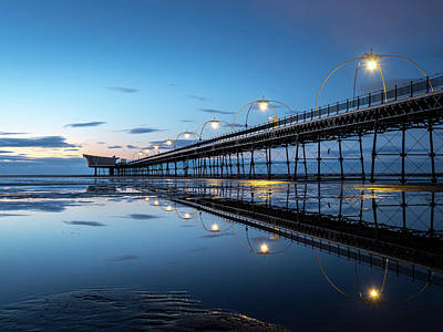 Photograph - Southport Pier Blue Hour  by Andrew George Photography