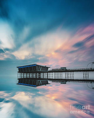 Photograph - Southport Pier Sunset Reflections  by Andrew George Photography