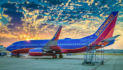 Robert Bellomy Royalty-Free and Rights-Managed Images - Southwest Airlines The Winning Spirit 737 at Sunrise by Robert Bellomy