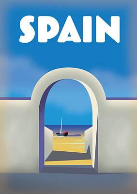Digital Art - Spain retro travel poster by David Greenaway
