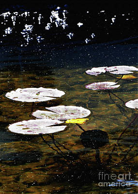 Mixed Media Royalty Free Images - Sparkles on the Lily Pond Royalty-Free Image by Sharon Williams Eng