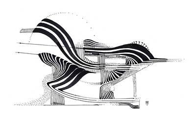Animals Drawings - Sparrow by Alex Ruiz