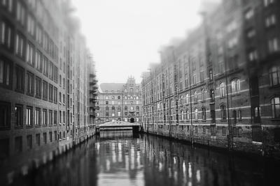 Abstract Water - Speicherstadt HafenCity Hamburg Germany Black and White  by Carol Japp