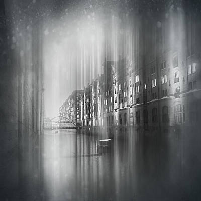 Achieving - Speicherstadt Hamburg by Night Abstract Square Black and White  by Carol Japp