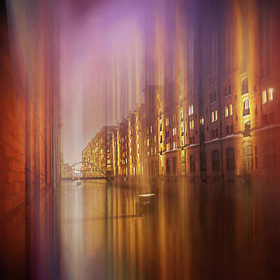 Achieving - Speicherstadt Hamburg by Night Abstract Square  by Carol Japp