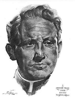 Drawings Royalty Free Images - Spencer Tracy 2 by Volpe Royalty-Free Image by Stars on Art