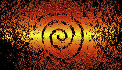 Abstract Male Faces - Spiral petroglyph southwestern USA by David Lee Thompson