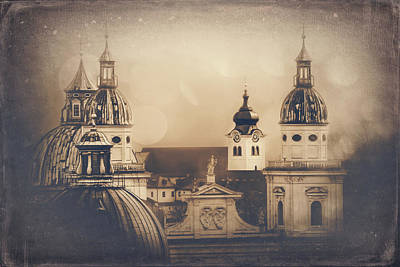 Royalty-Free and Rights-Managed Images - Spires of Salzburg Vintage  by Carol Japp