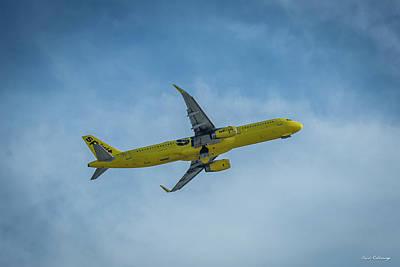 Comic Character Paintings - Spirit Jet N679NK The Take Off Hartsfield Jackson Atlanta International Airport Art by Reid Callaway