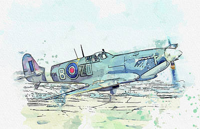 Rowing - Spitfire IXb MH in watercolor ca  by Ahmet Asar  by Celestial Images