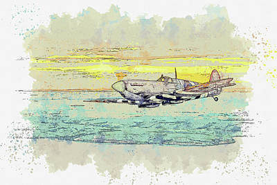 Rowing - Spitfire returning at sunset from a mission across the English Channel in watercolor ca by Ahmet Asa by Celestial Images