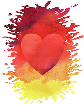 Abstract Graphics Rights Managed Images - Splash Some Love Around Watercolor Heart  Royalty-Free Image by Irina Sztukowski