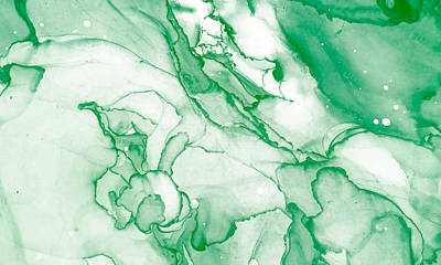 Royalty-Free and Rights-Managed Images - Spring Alcohol Ink Banner. Chinese Ink Painting. Light Green Stone Marble Texture. Mixing Paints Image. Light Green Ink Paint Texture. Mixing Paints Image. Tropical Print.  by Julien