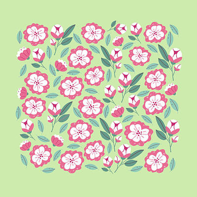 Royalty-Free and Rights-Managed Images - Spring flowers and herbs seamless pattern by Julien