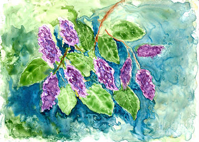 David Bowie Royalty Free Images - Spring Lilacs in Watercolor Royalty-Free Image by Conni Schaftenaar