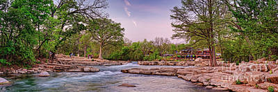 Latidude Image - Spring Panorama of Rio Vista Falls Dam in San Marcos - Texas Hill Country  by Silvio Ligutti