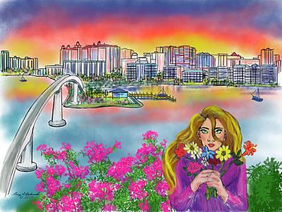Mixed Media Royalty Free Images - Spring Sarasota Florida Skyline Royalty-Free Image by Gary F Richards