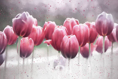 Little Mosters - Spring Tulips Subtle Reds  by Carol Japp