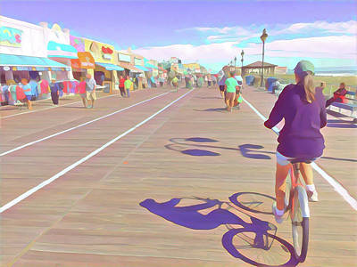 Surrealism Royalty-Free and Rights-Managed Images - Springtime Bike Riding on the BoardwalkI by Surreal Jersey Shore