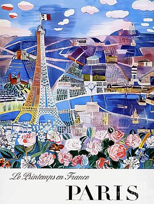 Drawings Royalty Free Images - Springtime in Paris Vintage Poster 1966 Royalty-Free Image by Raoul Dufy