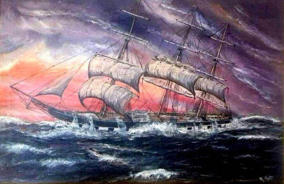 Olympic Sports - Square Rigger Kircudbrightshire, 1884, In A Storm by Mackenzie Moulton
