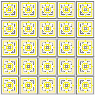 Curated Beach Towels - Square Yellow Gray Colored Pattern With Arrows by Jozef Jankola
