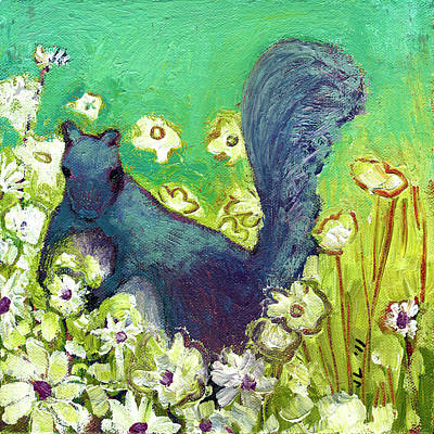 Royalty-Free and Rights-Managed Images - Squirrel Picking Daisies by Jennifer Lommers