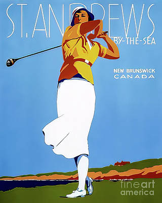 Drawings Royalty Free Images - St Andrews By The Sea New Brunswick Golf Poster 1946 Royalty-Free Image by Fairmont