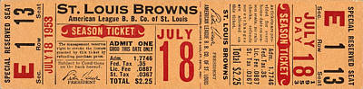 Sports Royalty-Free and Rights-Managed Images - St Louis Browns Baseball Ticket by David Hinds