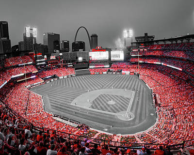 The Beatles - St Louis Skyline and Busch Stadium in Cardinal Red by Gregory Ballos