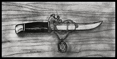 Still Life Drawings - St. Michaels Knife W/ Border by Michael Panno
