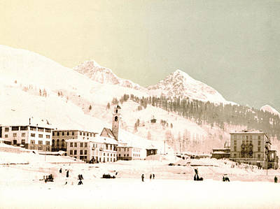 Royalty-Free and Rights-Managed Images - St. Moritz in Winter, Upper Engadine, Graubunden, Switzerland 1890. by Joe Vella