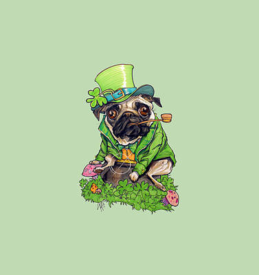 Royalty-Free and Rights-Managed Images - St. Paddys Pug by Canine Caricatures Custom Merchandise