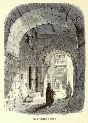 Animals Drawings - St. Stephens Gate Jerusalem h1 by Historic illustrations