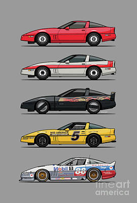 Digital Art - Stack of Bowtie C4 Corvettes Coupes And Racecars by Monkey Crisis On Mars